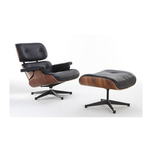 Sillón Lounge Chair y Ottoman Style Charles Eames Piel Negro